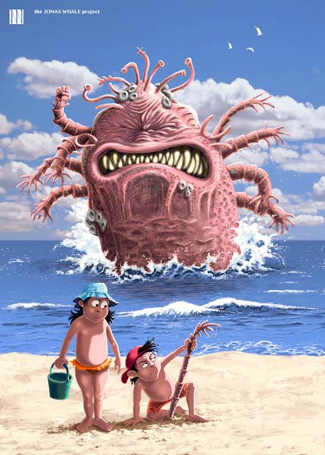 Monstruo marino en la playa.