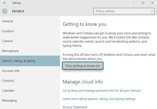 Disable 'Getting to Know You' Features
