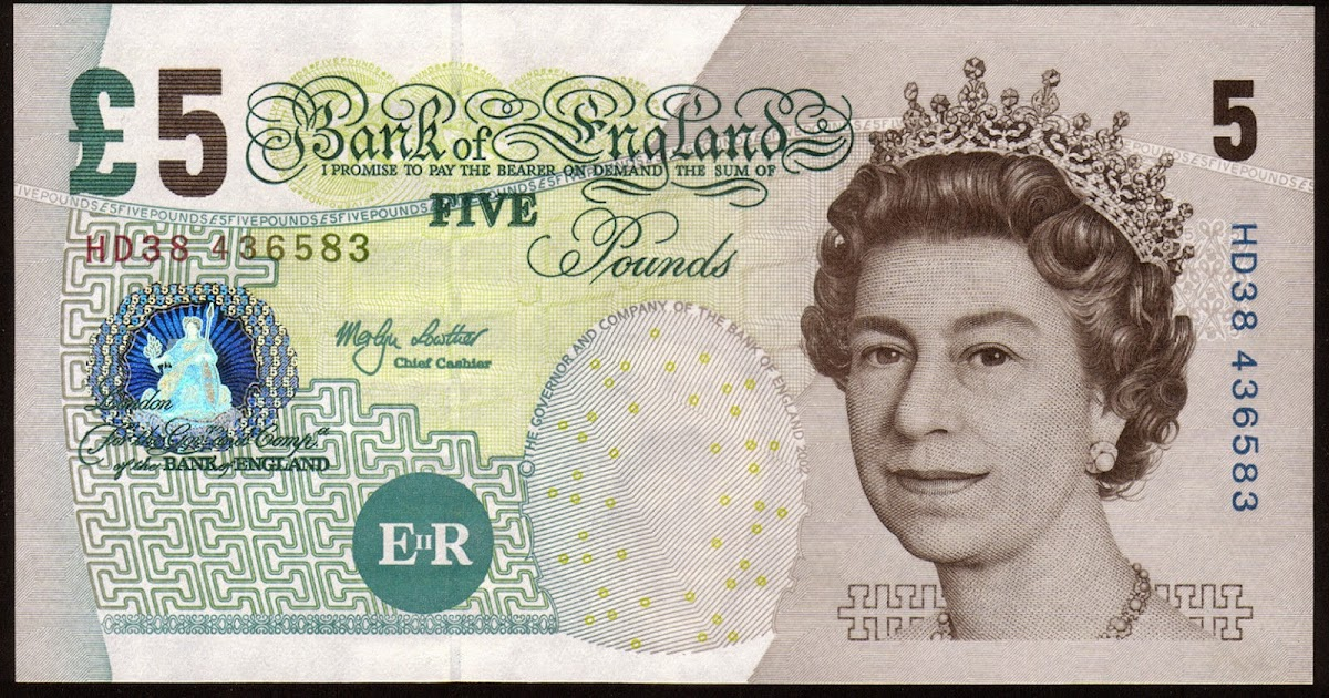 England 5 Pound Sterling Note 2002 Elizabeth Fry World