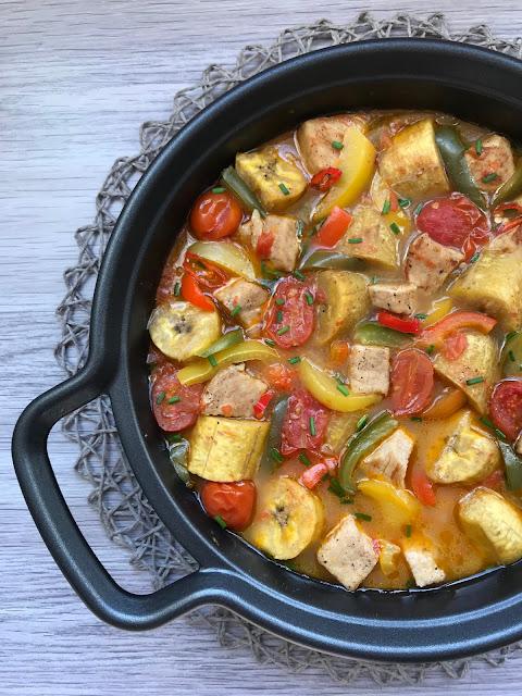 guiso de lomo de cerdo con verduras y plátano macho receta