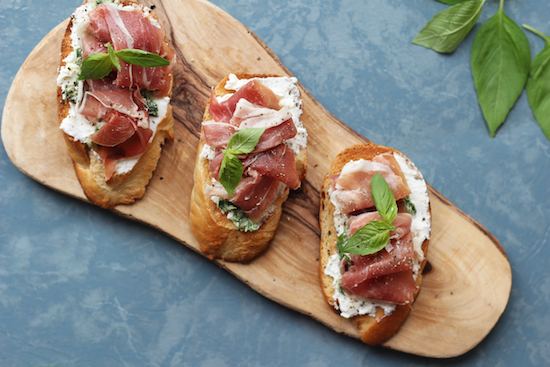 parma ham, ricotta and basil