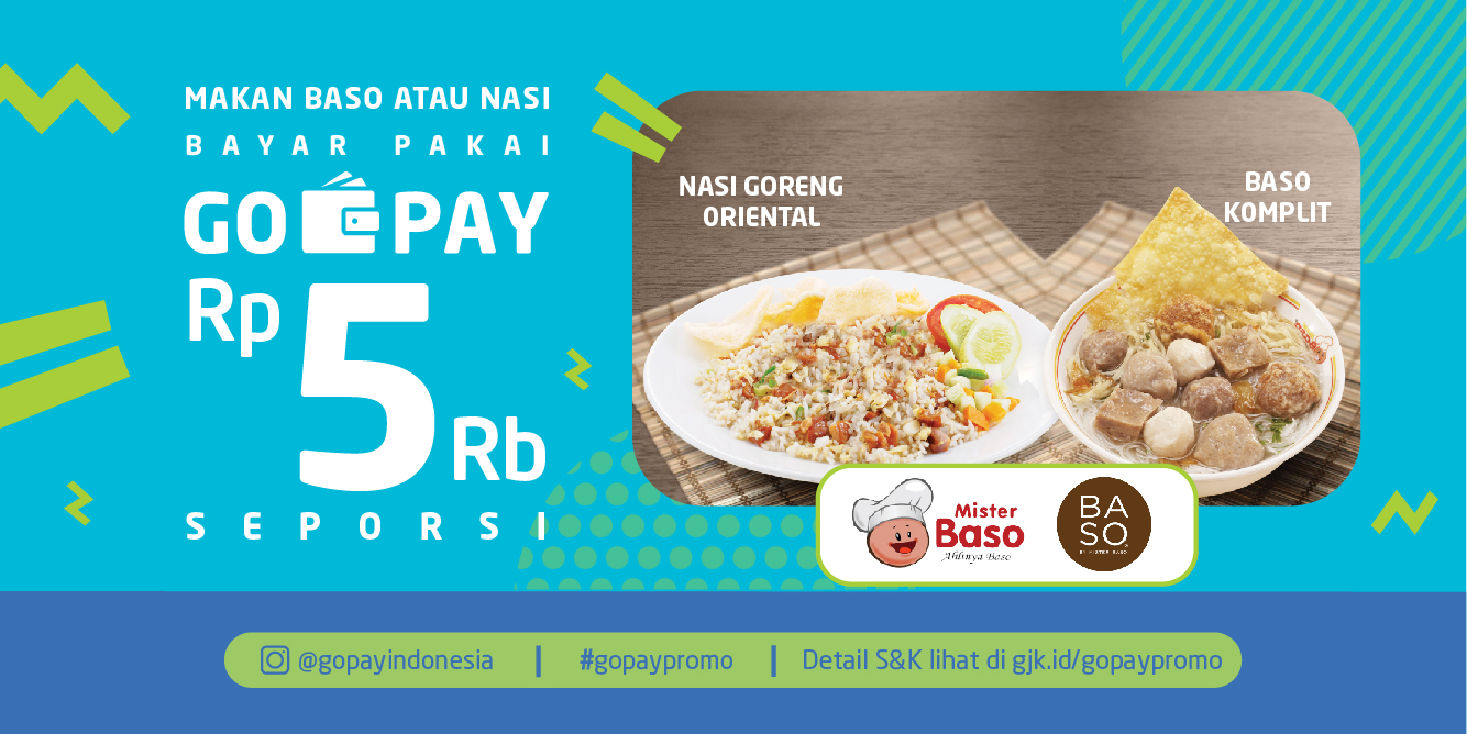GOjek - Proom Bayar Cuma 5 Ribu di Mister Baso & Baso Bayar Pakai GO-PAY