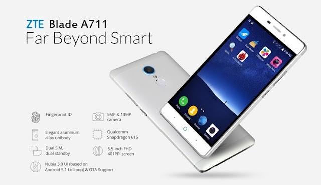 Harga HP ZTE Blade A711 Tahun 2016 Lengkap Dengan Spesifikasi Harga 2 Juta-an Feature Finger print