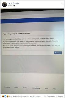 Facebook Larry Correia ban 2
