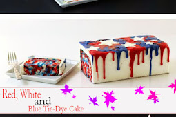 4th of July Dessert - Red, Whíte and Blue Tíe-Dye Cake