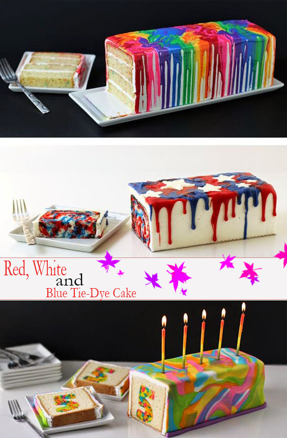 4th of July Dessert - Red, Whíte and Blue Tíe-Dye Cake