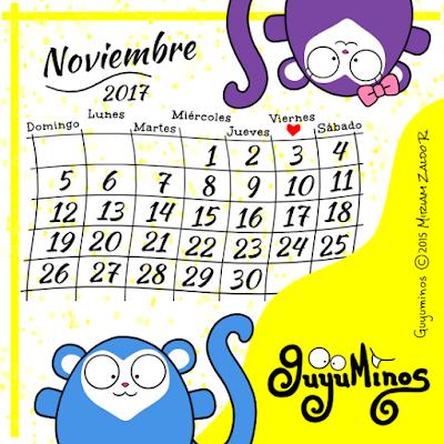Calendario del Mes de Noviembre 2017 Guyuminos con monos