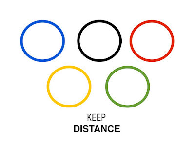Keep distance promotion by Olympic new logo