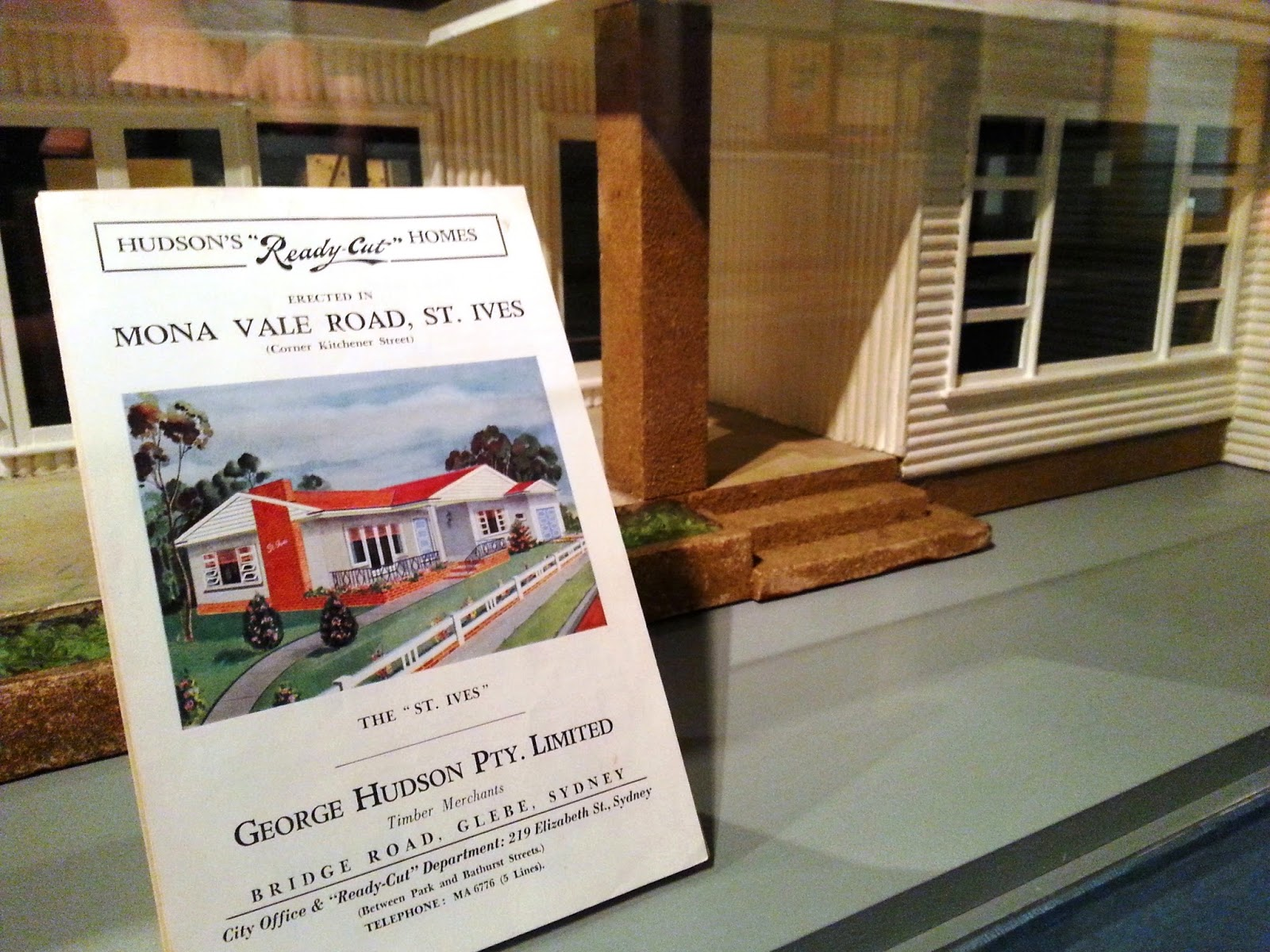 Model of Hudson's St Ives Ready-cut home, and accompanying sales brochure.