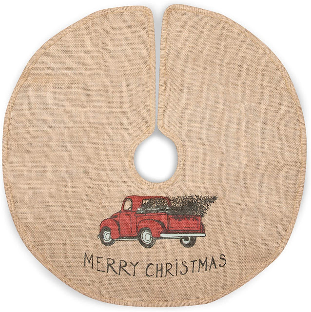 burlap tree skirt painted red truck Merry Christmas