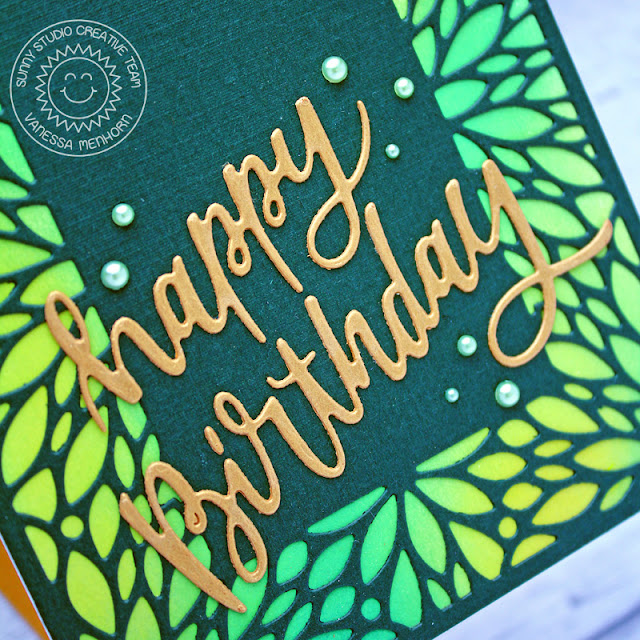 Sunny Studio Stamps: Blooming Frame Dies Birthday Card by Vanessa Menhorn