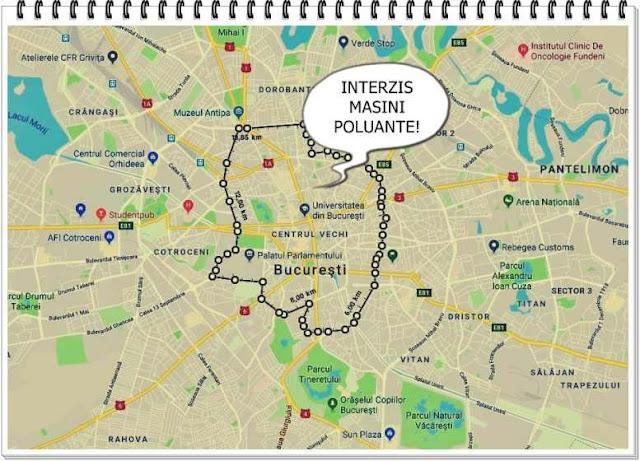 harta bucuresti zona cu restrictii interzis masinilor poluante