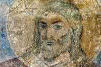 Detail from 'Prophet Samuel,' a pigment on plaster fresco at the Kiev, Russia Golden Domed Monastery.