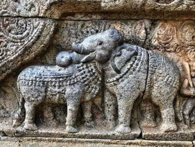 Bull – Elephant Illusion Sculpture At 12th century Airavatesvara Temple
