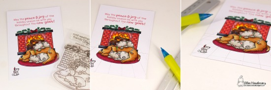 Cozy Fireplace Card scene tutorial by Ellen Haxelmans | Fireside Friends Stamp Set by Newton's Nook Designs #newtonsnook #handmade