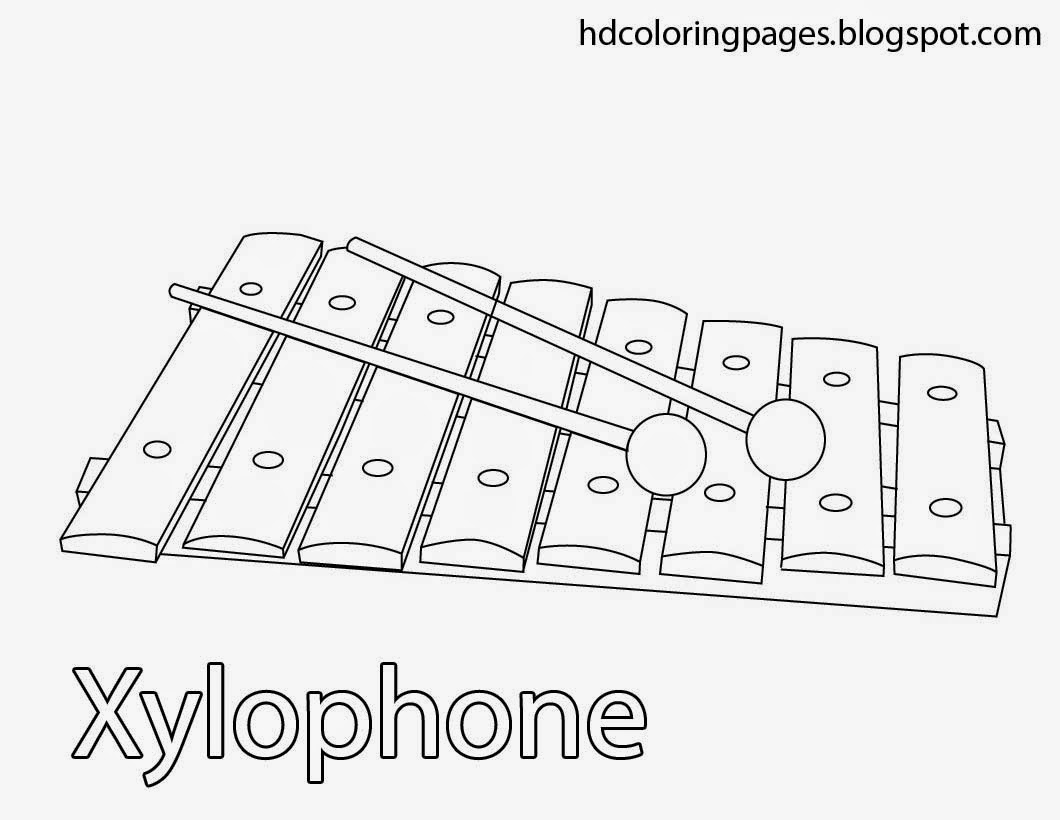 Coloring Pages Xylophone by letter x