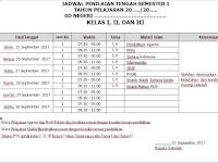 Format Model Jadwal PTS (Penilaian Tengah Semester) Kurikulum 2013 Jenjang SD/MI