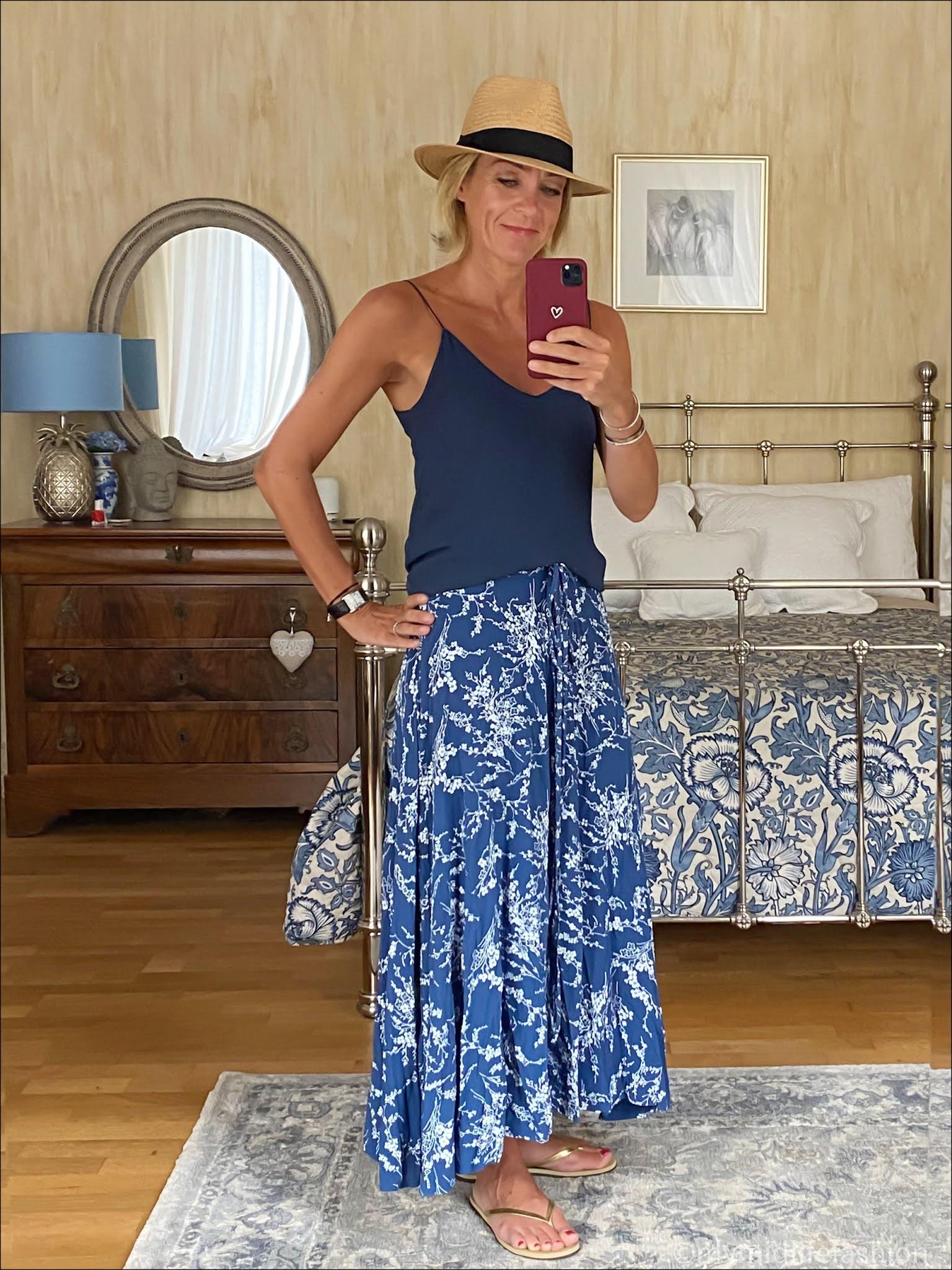my midlife fashion, H&M Panama hat, Zara camisole top, floral midi skirt, gold slim fit havaianas