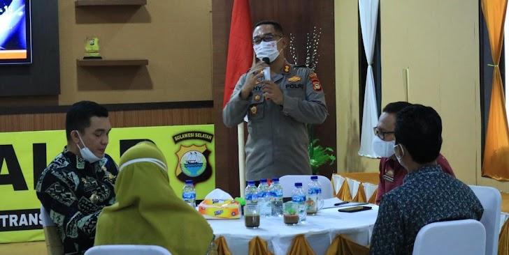 Kapolres Takalar, Pimpin Rakor Percepatan Vaksinansi Covid-19 Pelajar Usia 12-17 Tahun
