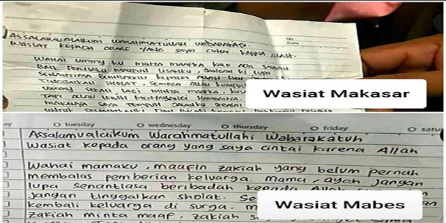 Surat Wasiat Terduga Teroris Hampir Sama, Publik Jadi Curiga