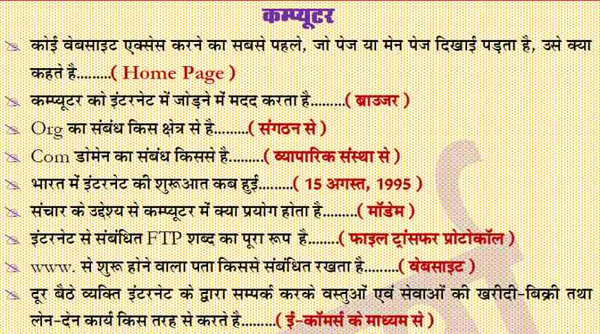Computer General Knowledge Questions in Hindi PDF Free