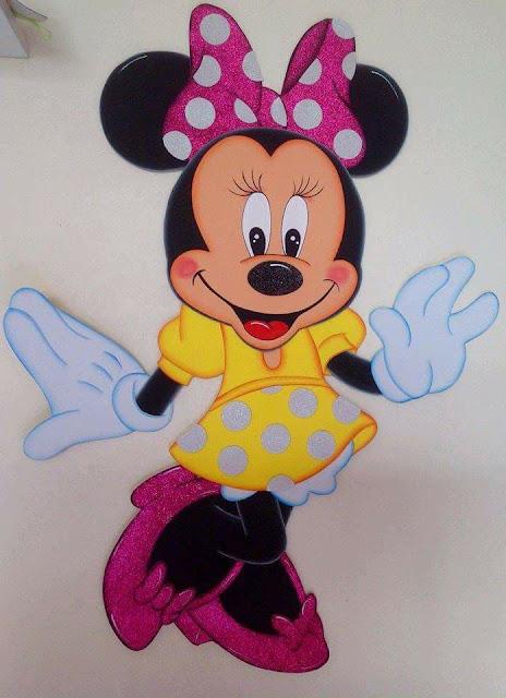 Moldes Gratis de Minnie Mouse con vestido amarillo