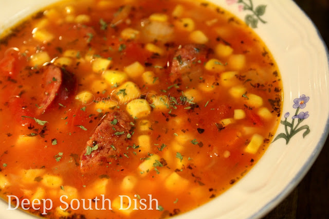 A flavorful tomato-based soup with corn and spicy andouille smoked sausage. Use garden fresh veggies or pantry items - either way it's a delicious soup.