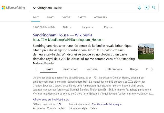 Fiche de Sandringham House de Microsoft Bing