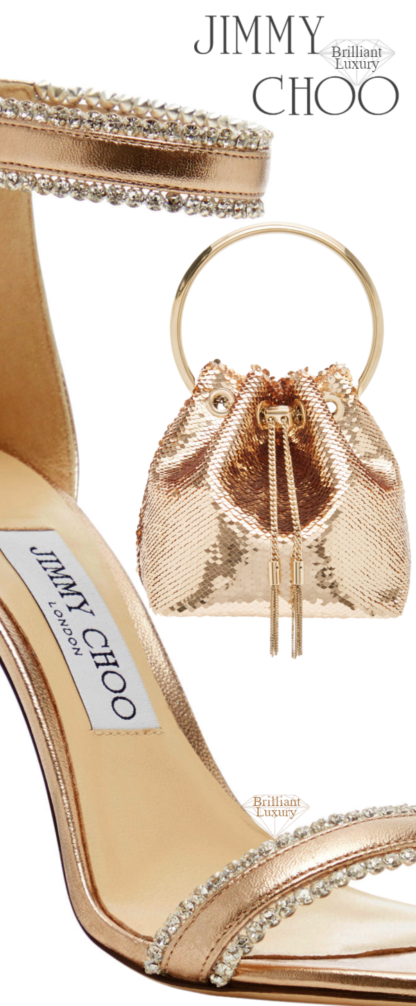 Perfect Pairings♦Jimmy Choo Dochas Crystal-Embellished Neutral Leather Sandals and Bon Bon Sequined Golden Metallic Satin Bucket Bag #brilliantluxury