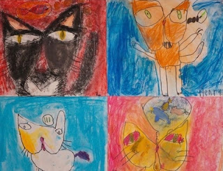 Elementary drawing of cats
