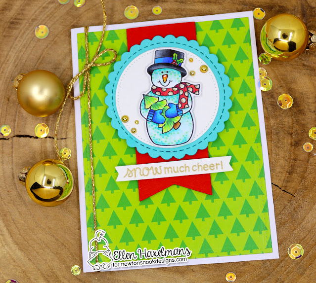 Snowman Christmas Card by Ellen Haxelmans | Snow Much Cheer Stamp Set, Meowy Christmas Paper Pad, and Circle Frames Die Set by Newton's Nook Designs