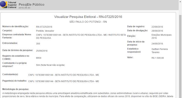 Instituto SETA registra pesquisa em São Paulo do Potengi; Divulgação será dia 28
