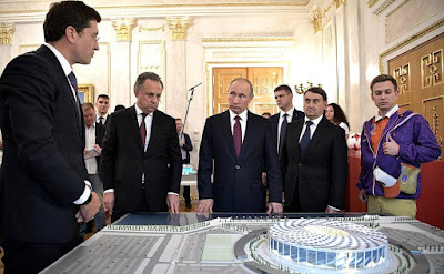 Before the joint meeting of the Council for the Development of Physical Culture and Sport and the 2018 FIFA World Cup Russia Local Organizing Committee's Supervisory Board, the President visited an exhibition on preparations at stadiums and airports of host cities for the 2018 FIFA World Cup.