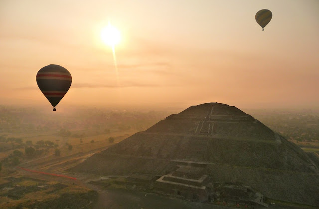 Pyramid of the Sun with Hot-Air Balloon