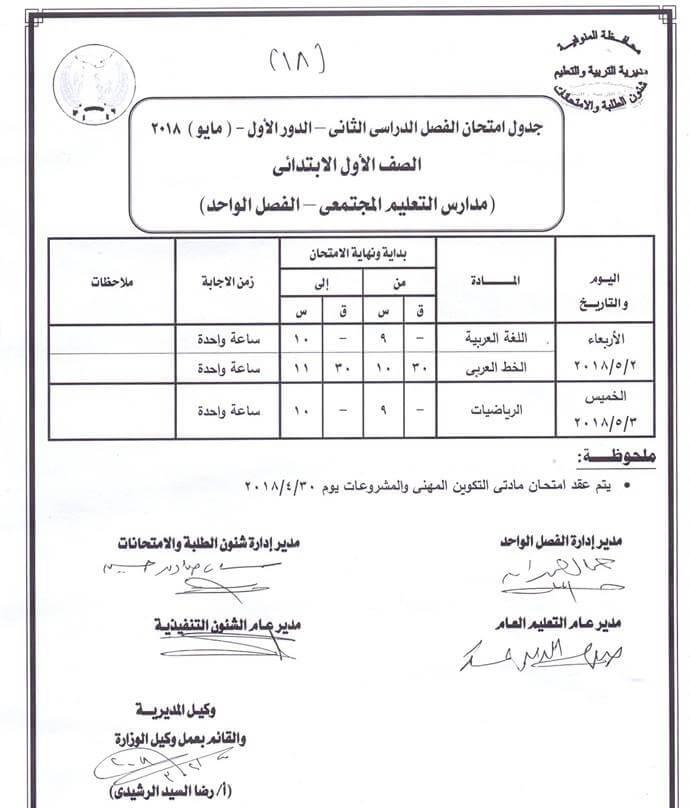 جدول امتحانات الصف الاول الابتدائي 2018 اخر العام محافظة المنوفية