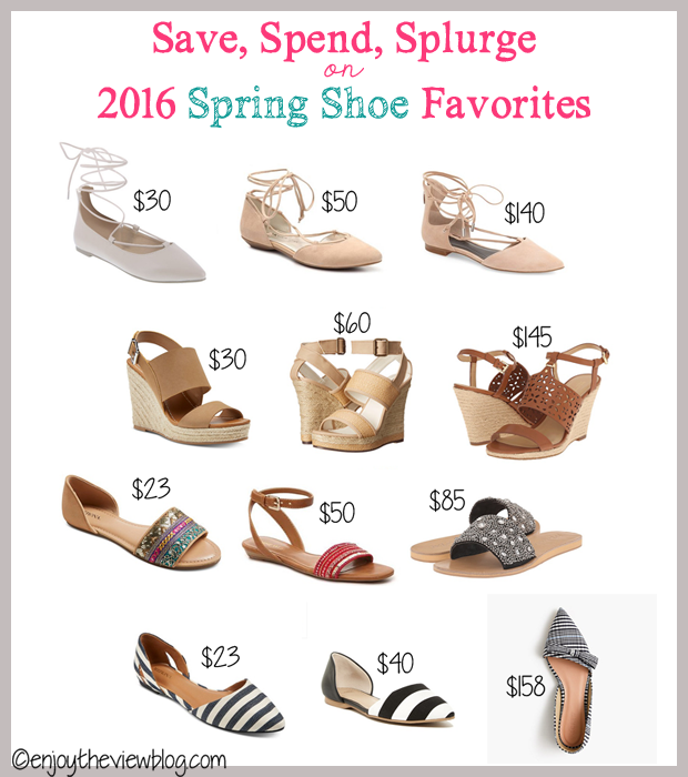 infographic with 12 pairs of spring shoes