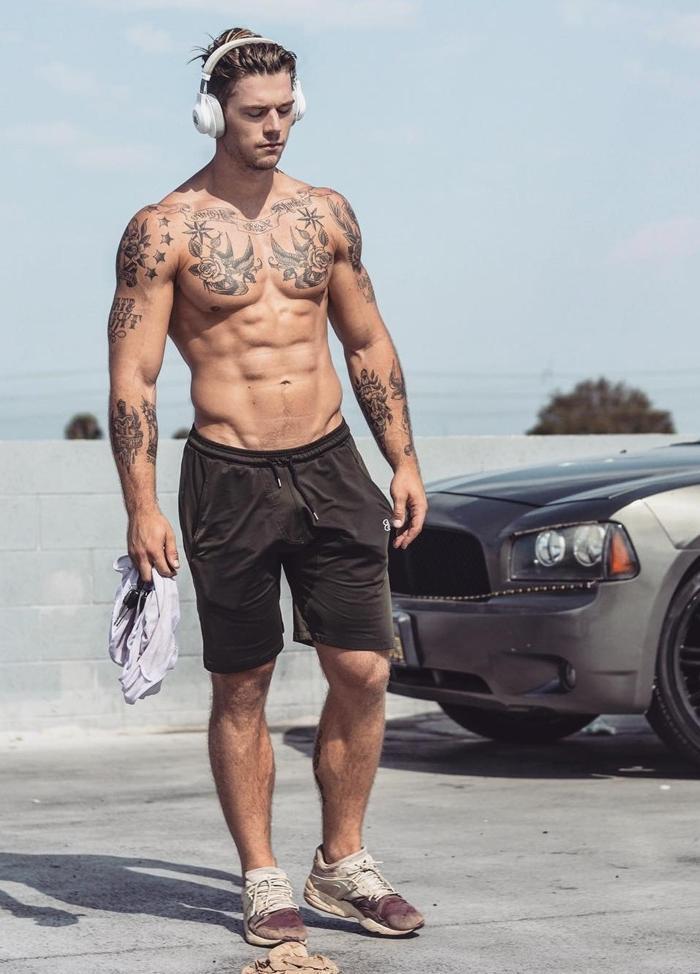 hot-shirtless-fit-bro-pecs-tattoos-arms-headphones-lucury-car-life-long-hair-dope-bro-chillin