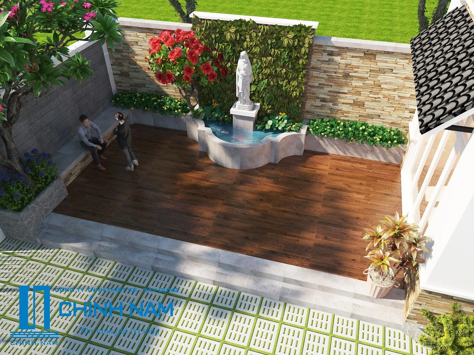 thiết kế sân vườn anh Tí ở Biên Hòa