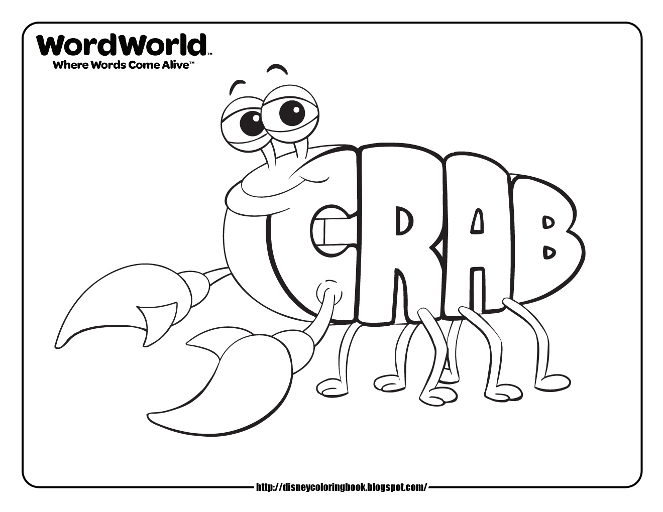 Disney Coloring Pages And Sheets For Kids: WordWorld 2