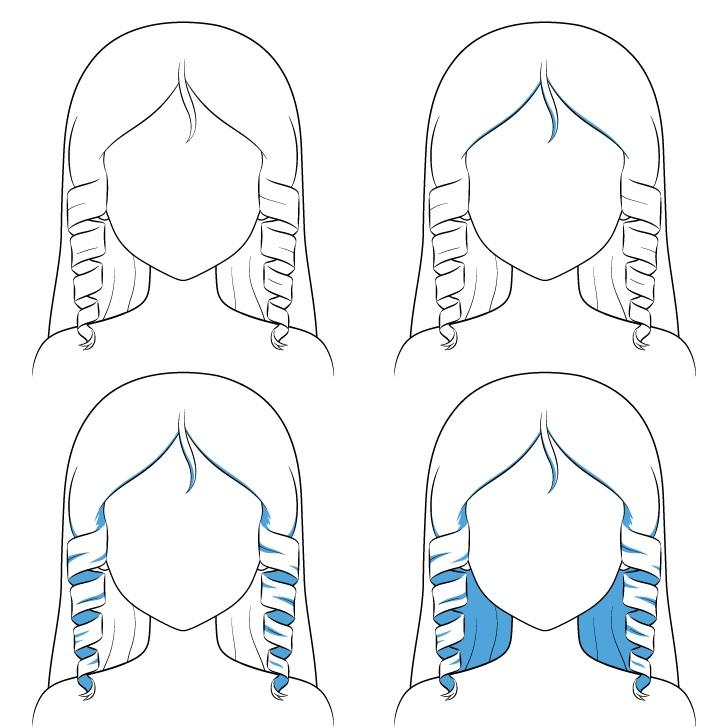 Langkah shading rambut keriting anime