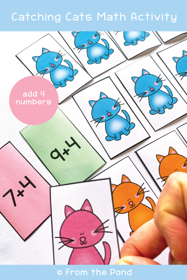 Model Addition to 20 math center game catching cats
