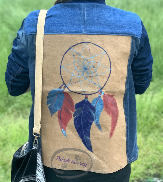kurtka jeansowa DIY łapacz snów ręcznie malowany