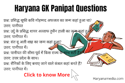 Haryana GK Question in Hindi For Panipat District