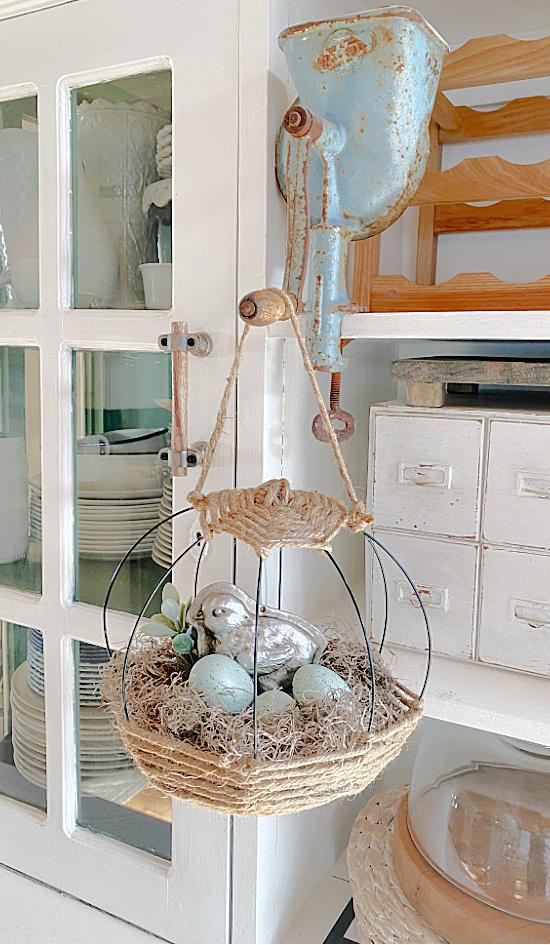 hanging Easter basket on hutch