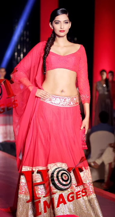 Sexy Sonam Kapoor Hot Navel Show Photos In Red Dress - Hot -1878