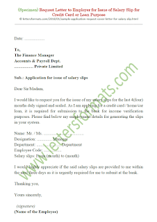 application for salary slip for credit card or bank loan