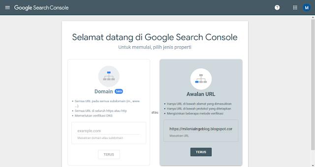 Menambahkan Situs ke Search Console