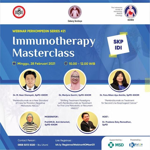 (Gratis SKP IDI) Webinar Immunotherapy Masterclass