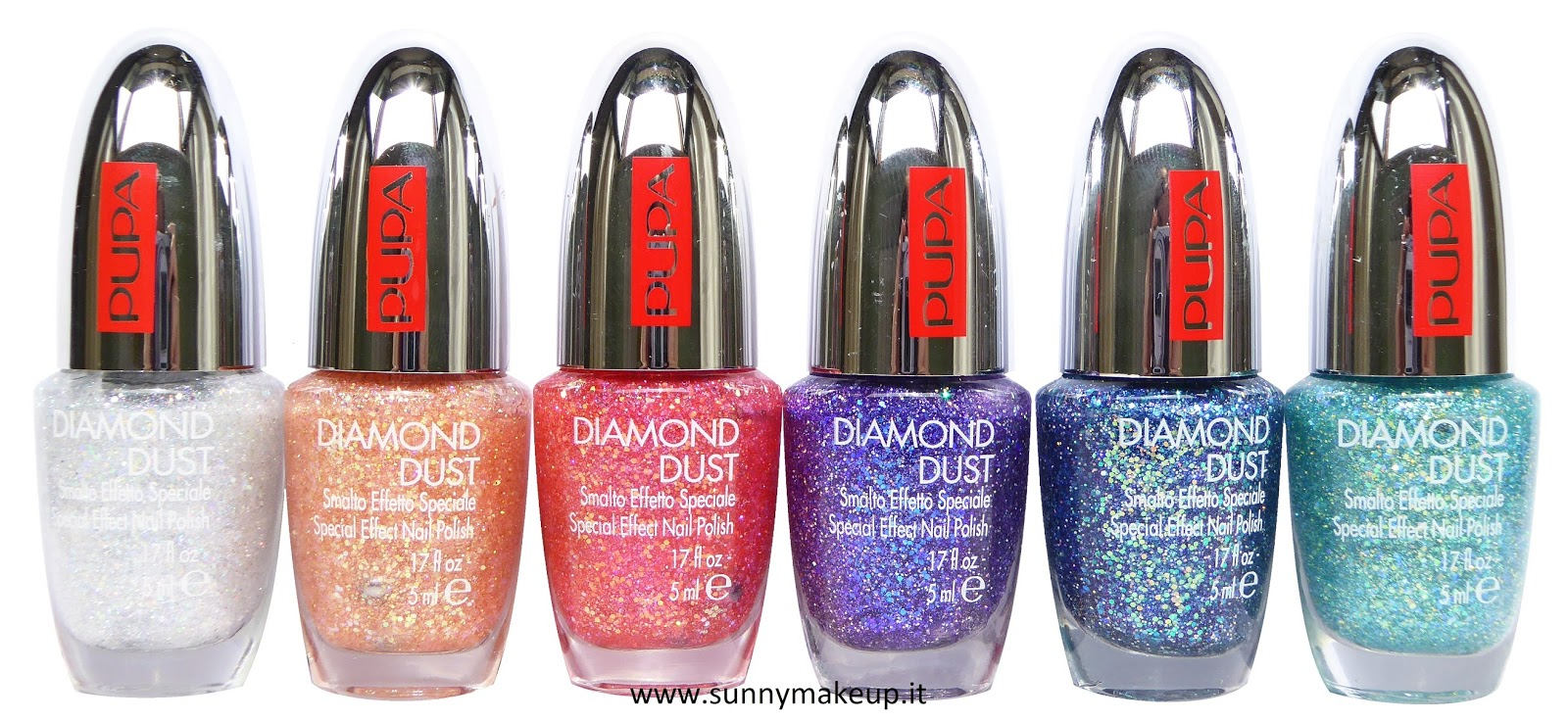 Pupa - Diamond Dust. Da sinistra verso destra, gli smalti speciali effetto polvere di diamante nelle colorazioni: 001 Silver, 002 Peach, 003 Fuchsia, 004 Violet, 005 Blue, 006 Emerald.