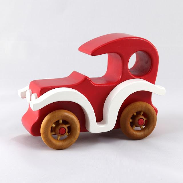 Handmade Wooden Toy Car Bad Bob's Custom Motors Sedan Red & White